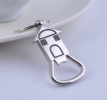 House Shaped Bottle Opener Keychain shaped zinc alloy Silver Color Key Ring Beer Bottle Opener Unique Creative Gift(China)