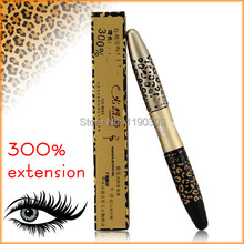 HOT Leopard Panther Lengthening Curving Waterproof Mascara 300% Extension Eyelash EyeLash Transplanting Gel Fiber free shipping(China)