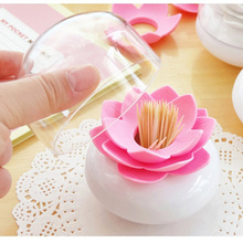 Beautiful Lotus Flower Shape Toothpick Cotton Bud Cotton Swab Holder Storage Cases Organizer Box with Cover Home Decoration