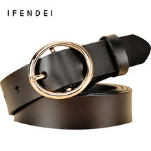 IFENDEI Genuine Leather Belt Women Round Gold Silver Pin Buckle Waist Casual Wild Female Belts For Jeans Black Ceinture Femme