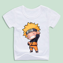 Ready Stock,Boy and Girl Anime Uzumaki Naruto T-shirts Summer Fashion White Soft Printed T shirts Children Clothes Kids Top(China)