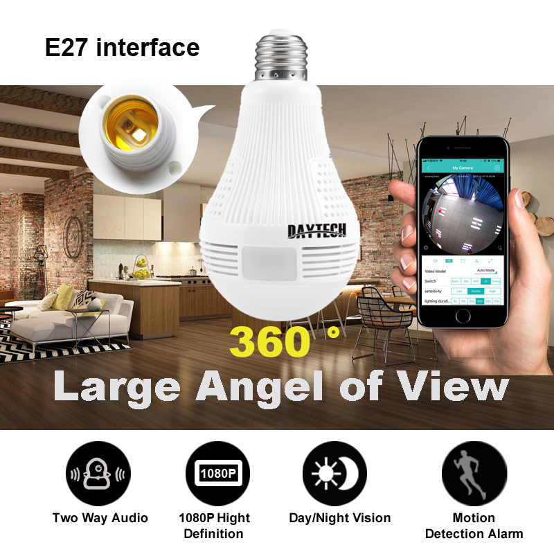 DAYTECH 1080P Wireless Panoramic IP Camera 2MP Home Surveillance Network Camera Security Lamp Night Vision Audio Free APP<br>