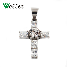 Wollet Health Care Magnetic Necklace Silver Color Cross Necklace Pendants For Women 316L Stainless Steel Jewelry(China)