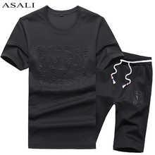 ASALI Brand Clothing 2PC Casual T Shirt Suit Men Fashion Summer 2017 New Mens Suit Slim Letter T Shirt Mens T Shirt Set(China)