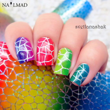1 roll 4*100CM Gradient Holographic Nail Foils Colorful Grid Nail Art Transfer Foil Transfer Sticker Paper D187
