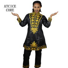 AFRICAN DRESSES FOR WOMEN Not bazin material soft silk material embroidery design top with pants without scarf two pcs one set(China)
