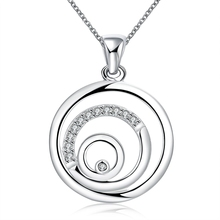 Italy High quality circels clear CZ jewelry silver plated pendants necklace with 45cm chains for women drop ship wholesalers