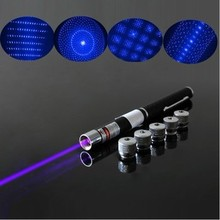 5 in 1 free shipping 5mw 50mw 100mw 500 mw 405nm blue laser pointer pen with star head / laser kaleidoscope light(China)