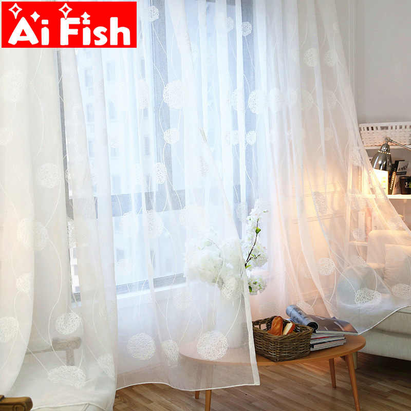 American White Embroidery Bird's Nest Tulle Curtains for Living Room Kitchen Sheer Window Drapes Linen Tulle Fabrics DF011-40