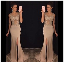 Dressy New Arrived  Long Prom Dress 2017 for Girl Slinky Sleeveless Side Slit Beaded See Through Satin Mermaid Prom