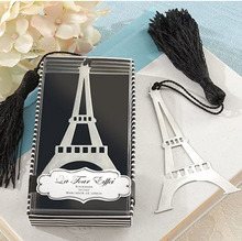 TIAMECH 1Pcs New In Box Romantic Eiffel Tower Bookmarks With Tassel Metal Bookmark Stationery Wedding Gifts K6896(China)