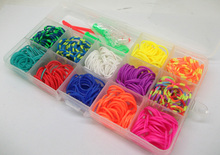 Free Shipping 12 color box set Rubber loom bands kit including ( 480pcs bands +1 Instructions+2 pcs hook+10 s-clips +2 loom )(China)