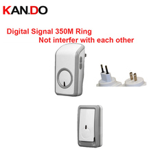Euro/US plug digital signal bell wireless doorbell Waterproof 380 Meter wireless ring,wireless door chime,48 melodies door ring(China)