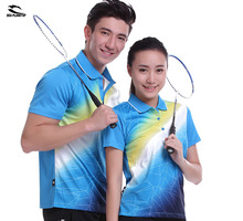 New Sportswear sweat Quick Dry breathable badminton shirt , Women / Men table tennis clothes team game blue POLO T Shirts