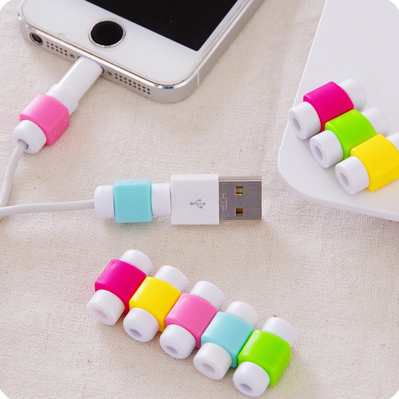 10PCS Colorful USB Cable Protector Cover Case For Apple Iphone 7 5S 6s Plus s6 edge Charger Data Cable Save Earphone Accessories(China (Mainland))
