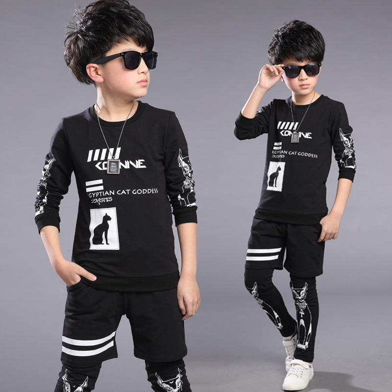 Spring Kids Clothes Black Long Sleeve Pullover Letter Sports Suit Hot Sale New 2017 Casual Boys Clothing Set 2 Color Size 5-14Y<br><br>Aliexpress