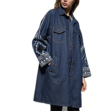 New Winter Europe Denim Windbreaker Turn-down Collar Single Breasted Fashion Wide-waisted Long Embroidery Women Coats Lj8270