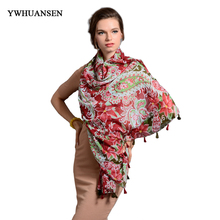 YWHUANSEN Flowers 2017 New warm shawl scarves For women spring designer brand high quality Female printing wrapped scarf summer(China)