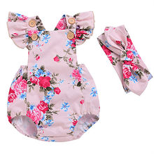 Newborn Cute Summer 2017 Baby Girl Pink Floral Bodysuit Jumpsuit Sunsuit Outfits One-Piece Clothes Baby Girl Clothing