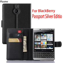 "Case For BlackBerry Passport Silver Edition 4.5""Shockproof Flip PU Leather Wallet Case for BlackBerry Full protective Flip Bags(China)"