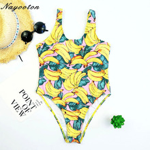 Buy 2018 Push New Hot Sell One Piece Swimwear Women Sexy Halter Bandage Beach Brazilian Swimsuit Banana Floral Print Bathing Suit