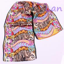 Tiger and Leopard Cartoon Design Real Silk Brocade Silk Scarves 100% Silk 8mm 130 * 30 cm Hair Scarf Wholesale