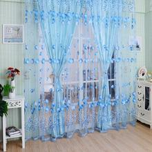 1*2.8m Floral blue curtain tulle fabrics sheer curtains for bedroom window sheer curtain panels floral curtain transparent drape(China)