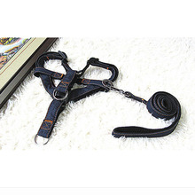 Free Shipping cowboy nylon fashion harness Adjustable Safety Control Restraint Puppy and larger Dog harness traction rope suit(China)