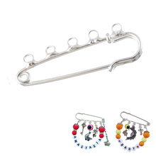 8PCs Brooch Pins With 5 Holes DIY Brooch Fit Charms & Chain Bronze Silver color Kids Jewelry Findings Accessories 5cm x 1.5cm(China)