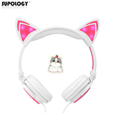 SUPOLOGY Cat Ear Headphones with LED Light Cute Cat Ear Gaming Headset for Girls Children Flashing Glowing Gaming Earphones(China)