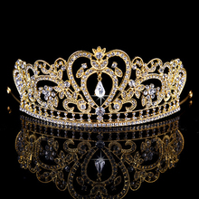 Gold Color Vintage Baroque Rhinestone Crystal Crown Headband Bridal Wedding Pageant Tiara For Women Hair Jewelry Accessories