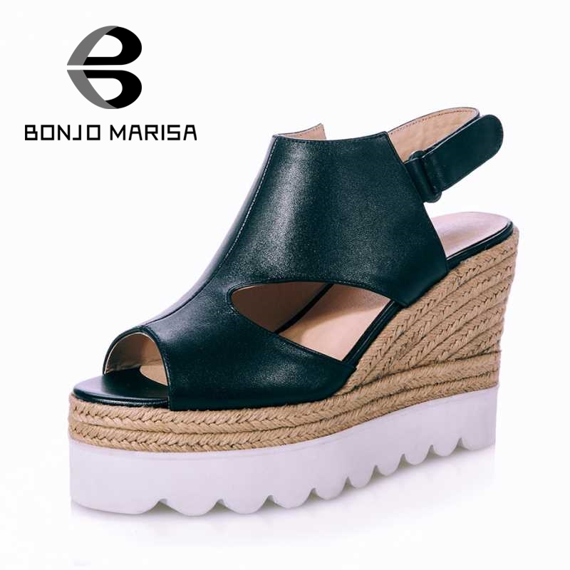 BONJOMARISA Size 33-40 High Heel Wedge Sandals Women Nature Leather Shoes Woman Open Toes Platform Ladies Footwear 2017 Fashion<br><br>Aliexpress