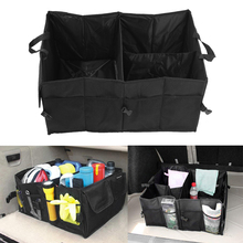 Black Folding Car Storage Boxes Travel Trunk Glove Bag Organizer Tools Toys Storage Holder Bin Cubes Bag Car Styling Container(China)
