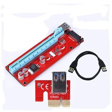 VENICO New Red VER007S PCI Express Riser Card 1x to 16x PCI-E extender 60cm USB 3.0 Cable 15Pin SATA Power for BTC Miner(China)