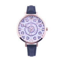 luxury watches women fashion watch Floral Pattern PU Leather Band Analog Quartz Wrist Watch relojes mujer 2016 relogio feminino