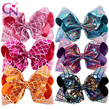 "6 Pieces/lot 8"" Mermaid Hair Bows With Clips For Kids Girls Handmade Fish Scales Metallic Fabric Bows Hairgrips Hair Accessories(China)"