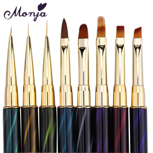 8 Style Nail Art Cat Eye Rhinestone Paint Brush Acrylic Gel Polish Extension Carving 3D Wide Liner Grids Flower DIY Gradient Pen(China)