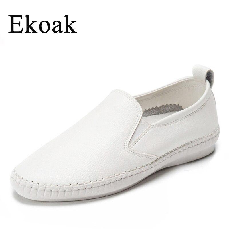 Ekoak Genuine Leather Size 34-43 New 2017 Classic Women Casual Shoes Spring Autumn Women Flats Fashion Round Toe Shoes Woman<br><br>Aliexpress