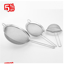 Fine Meshv Food Stainless Steel Strainers screen mesh oil strainer flour sieve Baking tools with Non-slip Red Handle optionally