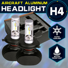Oslamp H4 Car Bulbs 6500K All-in-one Hi-Lo Beam H4 LED Headlights Kit 2WD 4WD Fan-less Auto Head Lamps SUV 50W 8000LM CSP Chips