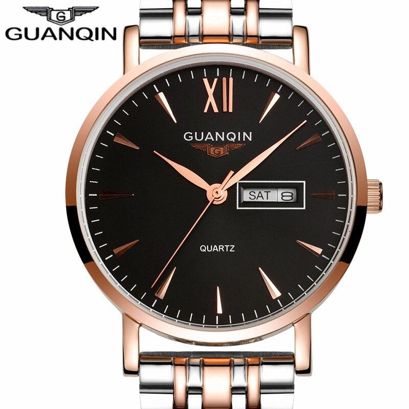 Mens Watches Top Brand Luxury GUANQIN Business Men Fashion Quartz Watch Gold Stainless Steel Strap Wristwatch Relogio Masculino<br><br>Aliexpress