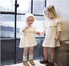 2016 new spring clothing autumn baby boys and girls 100% cotton Hand made knit girl princess dress Free shipping 1-5 years