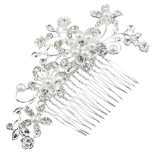 Fascinating Bridal Crystal Pearl Diamante Hair Comb Clip(China)