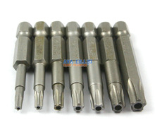 "1 Set 7 Pieces Magnetic Star Screwdriver Bit S2 Steel 1/4"" Hex Shank 50mm Long Star Bit Set"