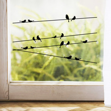 DIY Creative 3D Birds on the Electric Wire Living Room Decoration Vinyl Wall Sticker Glass Window Decal Wall Decor Murals(China)