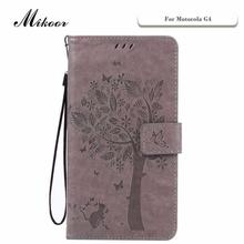 Mikoor Fashion God Tree Pattern Leather 5.5For Motorola Moto G4 Case For Motorola Moto G4 Cell Phone Case Cover