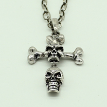 Fashion Gothic Antique Cross Silver Skull Necklace Steampunk Skulls Pendant Chain Jewelries