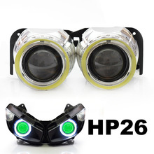 KT LED Angel Demon Eyes Projector Lens Suitable for Kawasaki Ninja 1000 2011 2012 2013 2014 2015 Motorbike HID Kit Green