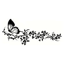 29.2*12.9CM Flying Butterfly Decals Beautiful Pattern Car Sticker Cool Car Door Accessories Black/Silver C9-1637