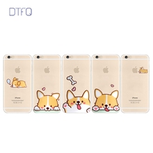 DTFQ Fashionable Cartoon Dog Corgi Cute Lovely Clear Transparent TPU Back Case Cover Skin for iPhone 6/6s 6 Plus/6s Plus 7 8 X(China)